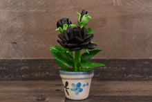 Clay Flowers Handmade Mini Black Rose Cute Hand Painted