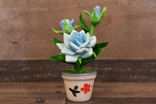 Handmade Polymer Clay Flowers Mini Blue Roses Cute Hand Painted