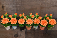 Clay Flowers Handmade Mini Orange Roses Cute Hand Painted