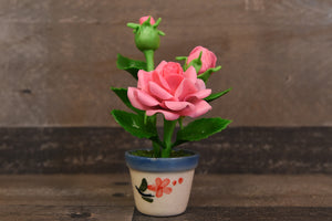 Handmade Polymer Clay Flowers Mini Pink Roses Cute Hand Painted