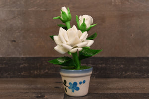Clay Flower Handmade Mini White Rose Cute Hand Painted Luna Clay