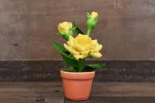 Clay Flower Handmade Mini Yellow Rose Cute Hand Painted