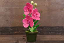 Handmade Clay Orchids Art  Mini Orchid Magenta Vanda  Cute Hand Painted Flower