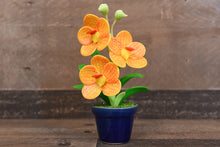 Handmade Clay Orchids Art  Mini Orchid Yellow Vanda  Cute Hand Painted Flower
