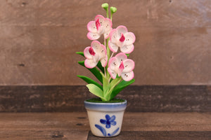 Clay Flowers Art Handmade Mini Orchid White/Pink Vanda Pannee Cute Hand Painted Flower