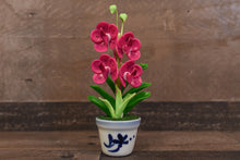 Clay Flowers Art Handmade Mini Orchid Magenta Vanda Pannee Cute Hand Painted Flower