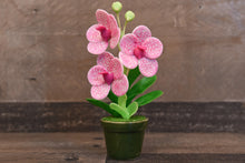 Handmade Clay Orchids Art Mini Orchid White/Pink Vanda Cute Hand Painted Flower