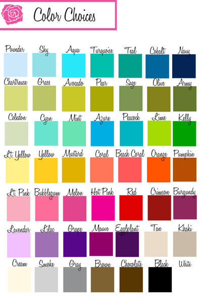A selection of colors for customized lucite tray that comes in 17 x 11 or 8 x 11 sizes.