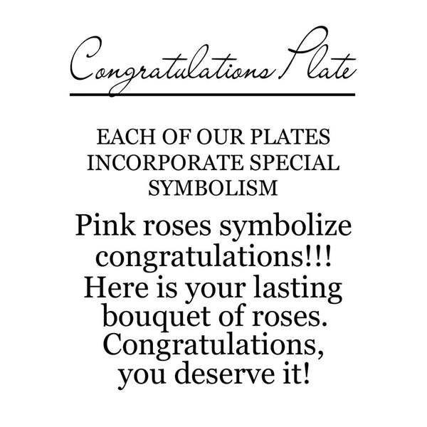 On the back of the box is a label that explains the corresponding symbolism. This one has pink roses that symbolize congratulations. Here is your lasting bouquet of roses.