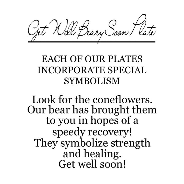 On the back of the box is a label that explains the corresponding symbolism. This plate has coneflowers that symbolize strength and healing. Get well soon.