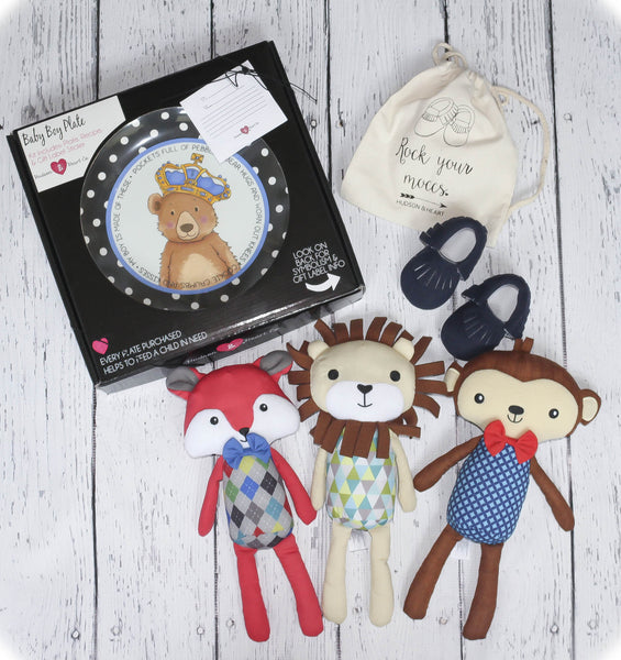 Baby boy gift set including: Baby Boy Bear Ceramic Plate, navy suede Moccasins or black leather moccasins, and a Plush Lovey of your choice- Lion, Monkey or Fox