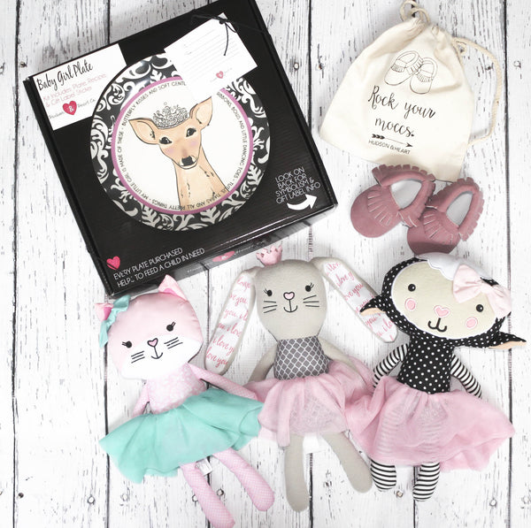 Baby girl gift set includes: Baby Girl Deer Ceramic Plate, pink suede t tasseled Moccasins, and a Plush Lovey of your choice- soft plush, Bunny, Cat or Lamb