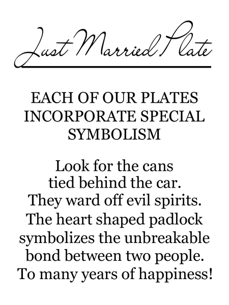 On the back of the box is a label that explains the corresponding symbolism. This plate has cans tied behind the car to ward off evil spirits and there is a heart shaped padlock to symbolize the unbreakable bond between two people.