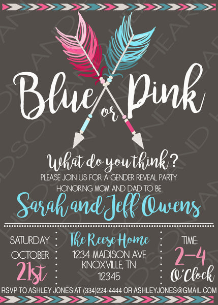 Personalized Gender Reveal baby shower invitation with blue and pink intersecting arrows. The background is charcoal and the lettering is white, pink and blue.