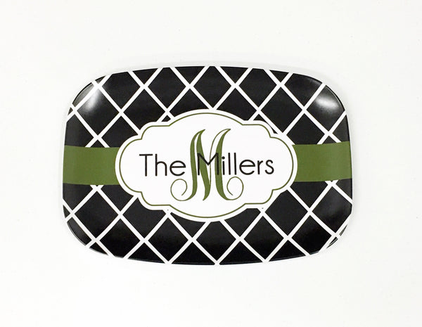 Melamine Crisscross Platter 10 x 14 that can be customized with a wide range of colors, patterns, fonts and monograms.