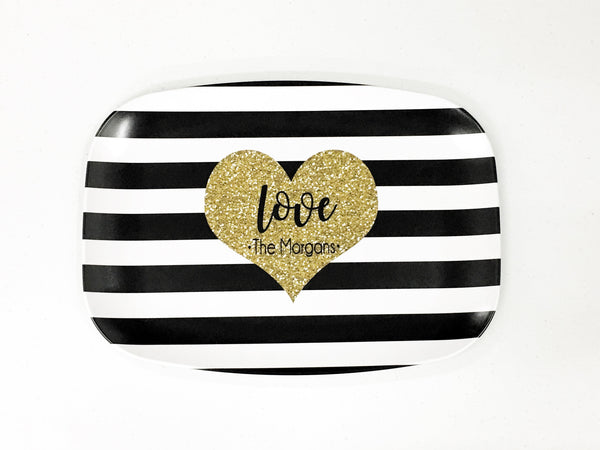Melamine Stripped Platter with a glitter heart that says Love and the last name of a buyer  10 x 14 that can be customized with a wide range of colors, patterns, fonts and monograms.