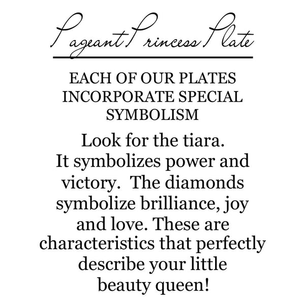 The back of the package has the symbolism explained. The symbolism is the tiara which stands for power and victory.  The diamond on the crown symbolize brilliance, joy and love.