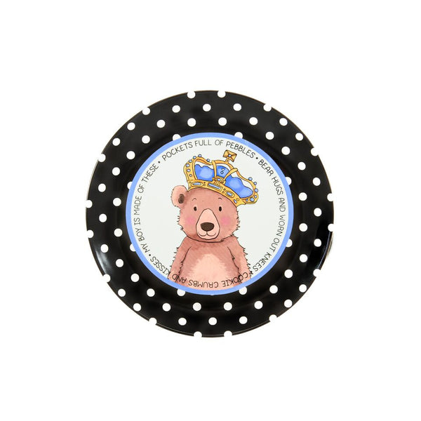 "Baby Boy Bear Ceramic Plate featuring our bear with a royal crown illustration and black and white polka dot border. The quote ""Pockets full of pebbles • Bear hugs and worn out knees • Cookie crumbs and kisses • My boy is made of these"" is shown on the inside of the border."