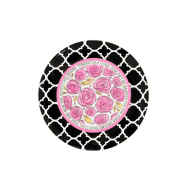 "Ceramic Congratulations Plate illustrated with pink roses and petals. It is surrounded by a pink circle and a black and white damask border.  Around the plate is a quote, ""Congratulations! Couldn't be happier for you. Your dreams have come true and now the adventure begins."""