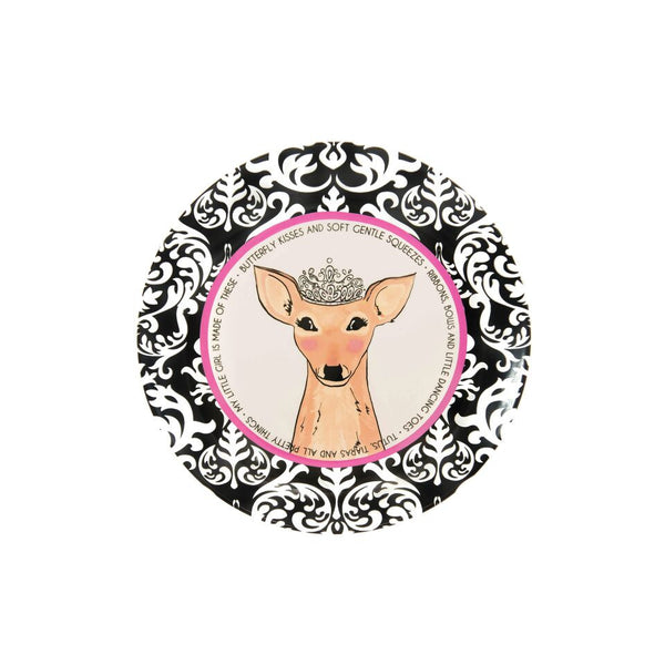 "Ceramic Baby Girl Plate featuring a deer with a princess tiara illustration with a damask border.  Incorporates quote, ""Butterfly kisses and soft gentle squeezes • Ribbons, bows, and little dancing toes • Tutus, tiaras, and all pretty things • My little girl is made of these"", going around inside border."