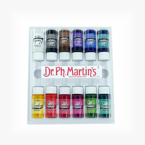 Dr. Ph. Martin's Bombay India Ink, 0.5 oz, Set of 12 (Set 1)