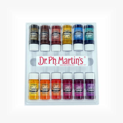 Dr. Ph. Martin's Bombay India Ink, 0.5 oz, Set of 12 (Set 2)