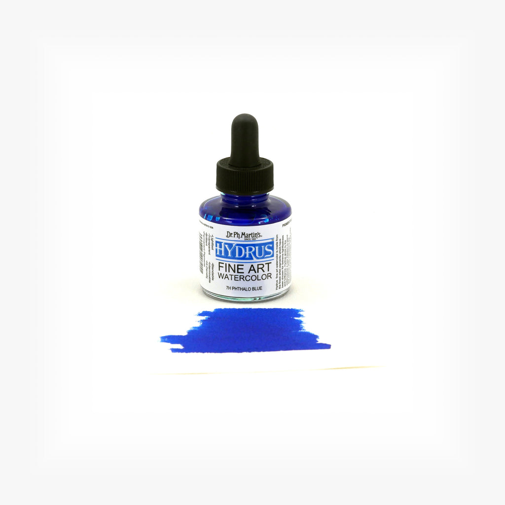 Dr. Ph. Martin's Hydrus Fine Art Watercolor, 1.0 oz, Phthalo Blue (7H)