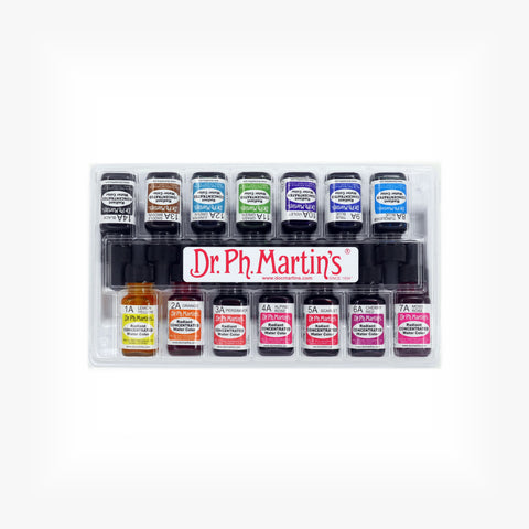 Dr. Ph. Martin's Radiant Concentrated Water Color, 0.5 oz, Set of 14 (Set A)