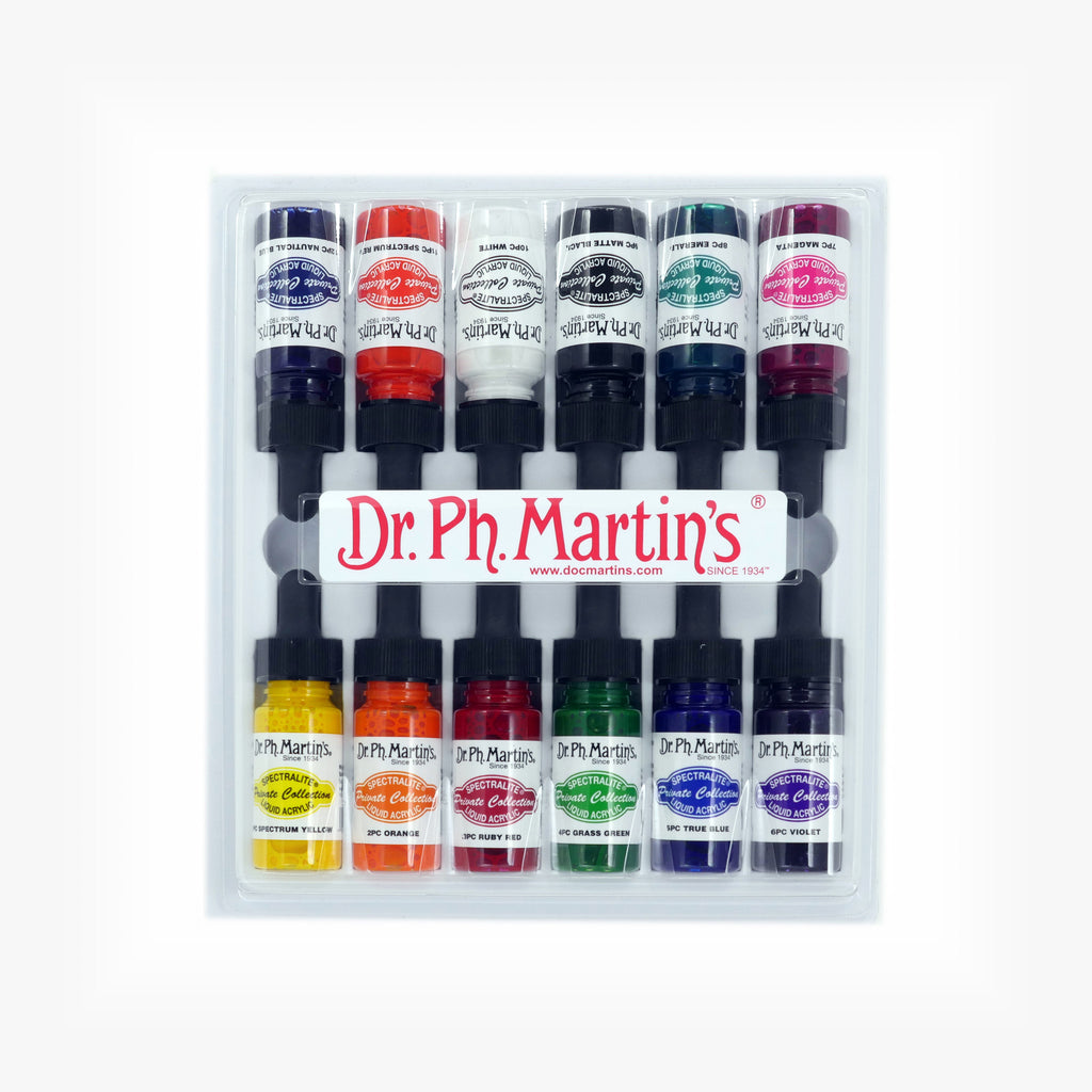 Dr. Ph. Martin's Spectralite Private Collection Liquid Acrylics, 0.5 oz, Set of 12 (Set 1)