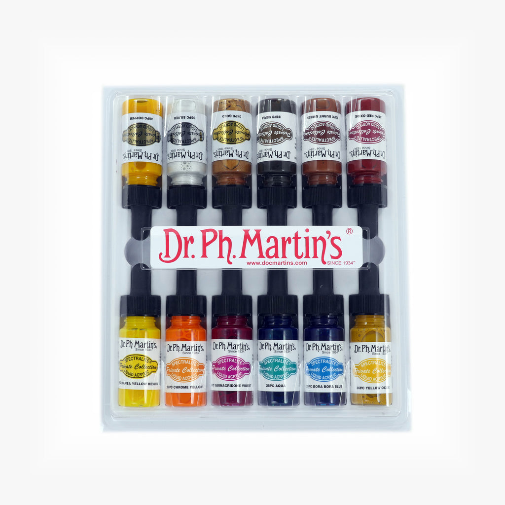 Dr. Ph. Martin's Spectralite Private Collection Liquid Acrylics, 0.5 oz, Set of 12 (Set 3)