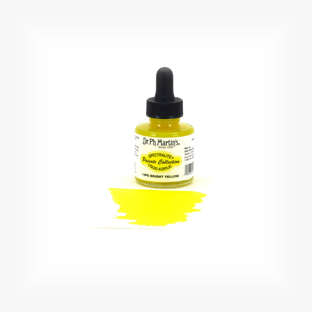 Dr. Ph. Martin's Spectralite Private Collection Liquid Acrylics, 1.0 oz, Bright Yellow (13PC)