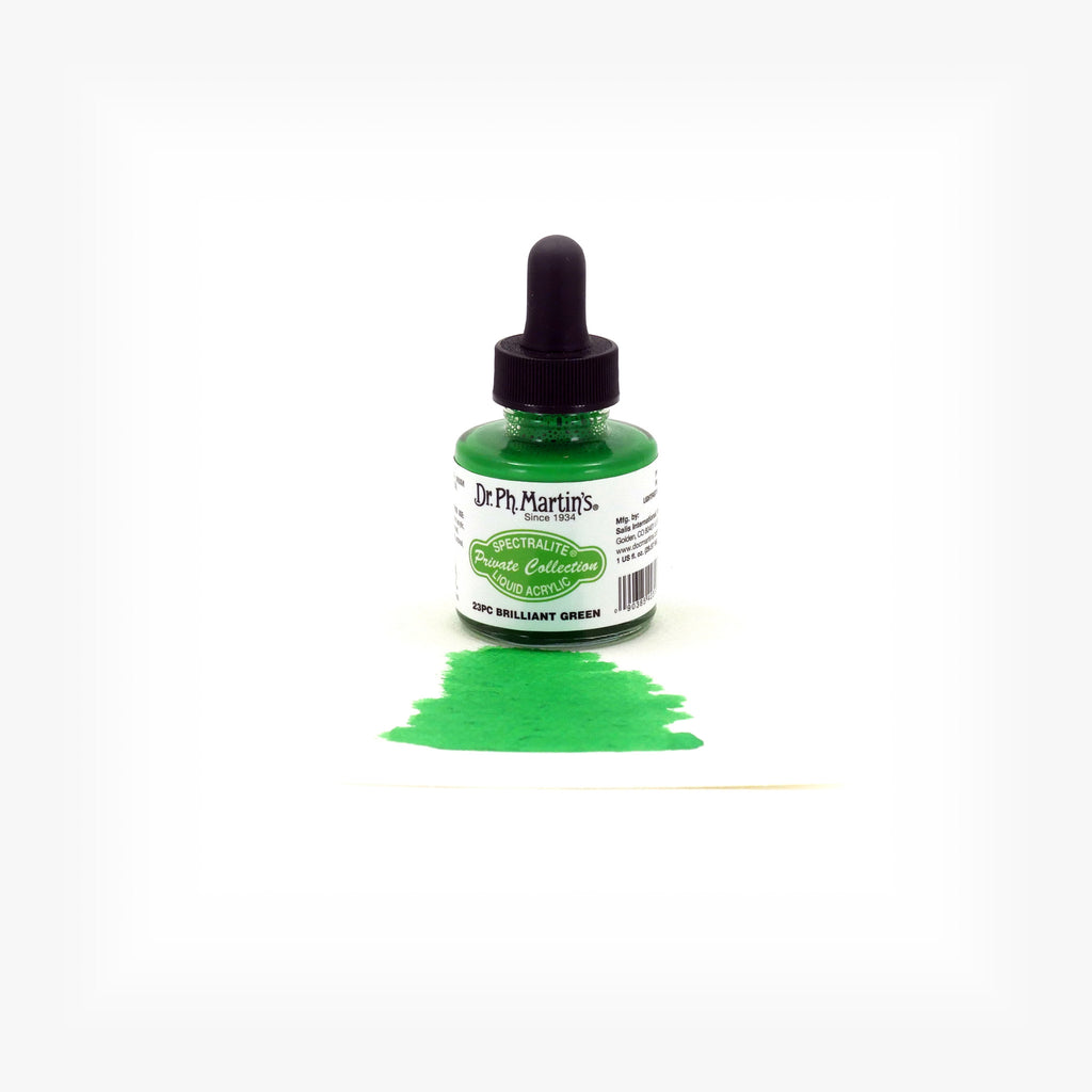 Dr. Ph. Martin's Spectralite Private Collection Liquid Acrylics, 1.0 oz, Brilliant Green (23PC)