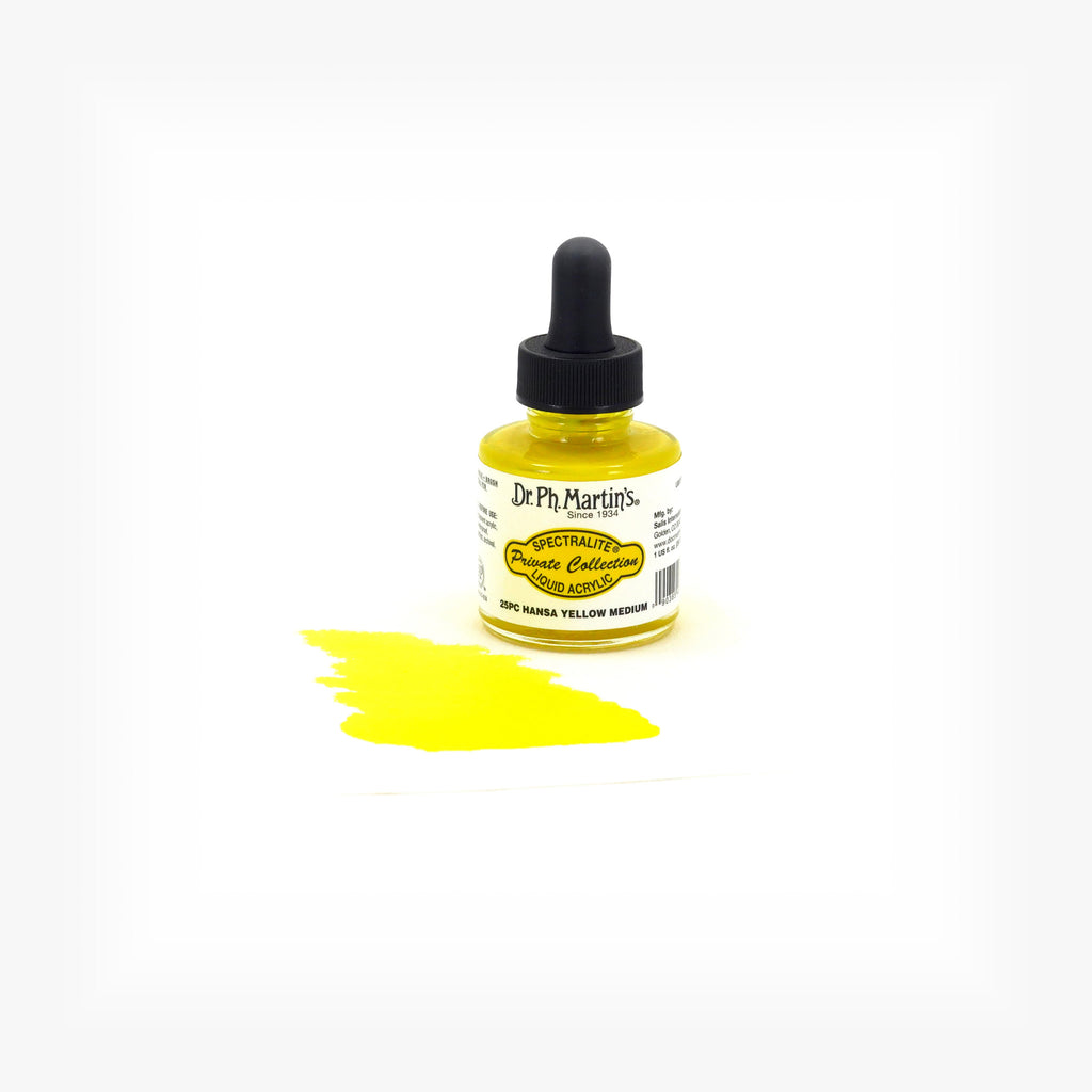 Dr. Ph. Martin's Spectralite Private Collection Liquid Acrylics, 1.0 oz, Hansa Yellow Medium (25PC)