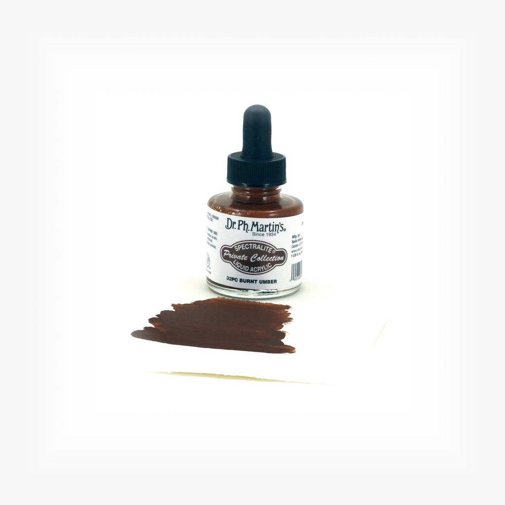 Dr. Ph. Martin's Spectralite Private Collection Liquid Acrylics, 1.0 oz, Burnt Umber (32PC)