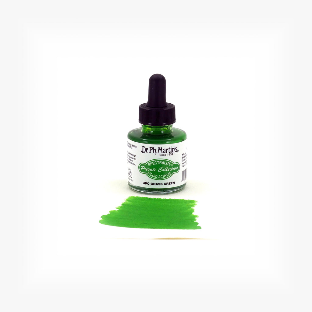Dr. Ph. Martin's Spectralite Private Collection Liquid Acrylics, 1.0 oz, Grass Green (4PC)