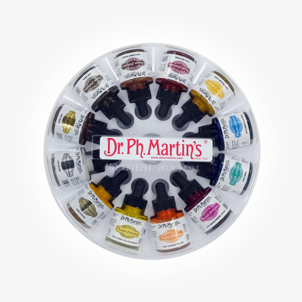 Dr. Ph. Martin's Spectralite Private Collection Liquid Acrylics, 1.0 oz, Set of 12 (Set 3)