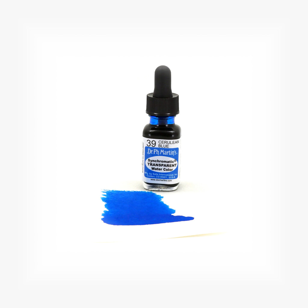 Dr. Ph. Martin's Synchromatic Transparent Water Color, 0.5 oz, Cerulean Blue (39)