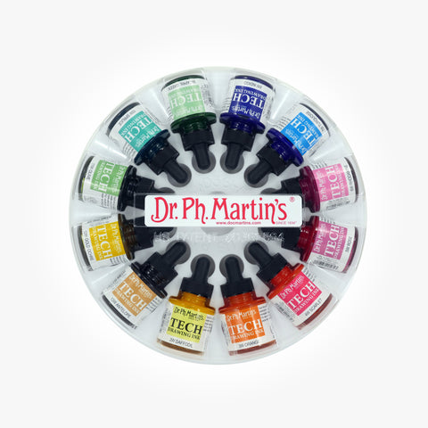 Dr. Ph. Martin's TECH Drawing Ink, 1.0 oz, Set of 12 (Set 1)