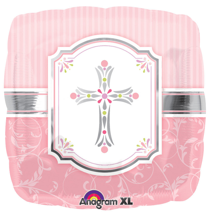 "18"" Communion Blessing Pink Foil Balloon"