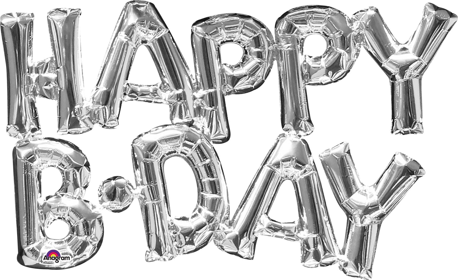 "30"" x 19"" Happy birthday in Silver Foil Balloon"