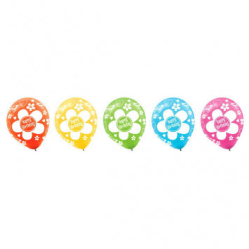 Birthday Flower All-Over Print Latex Balloons - Assorted 20Ct