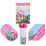 My Little Pony Party Supplies Pack Including Plates, Cups, Napkins and Tablecover - 16 Guests