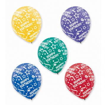 Primary Birthday Confetti All Over Print Latex Balloon Assortment - 20Ct
