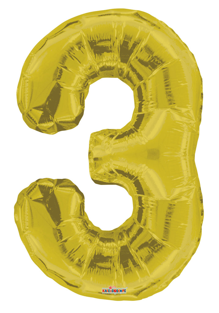 "34"" Gold #3 Foil Balloon"