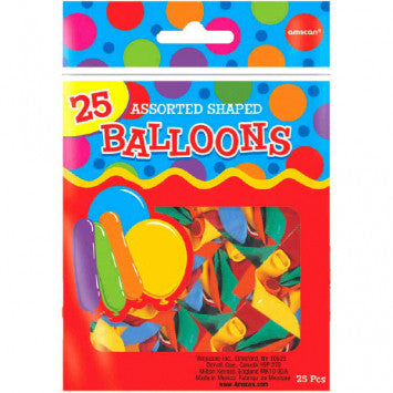 Assorted Shaped Latex Balloon Mix 25Ct