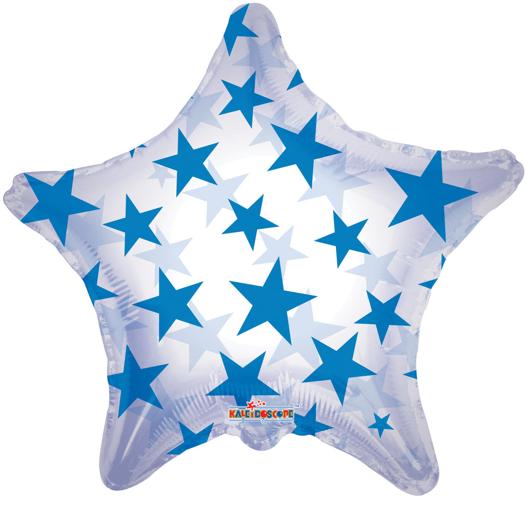 "22"" Blue Star Clear Foil Balloon"