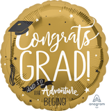 "32"" Graduation Adventure Gold Foil Balloon"