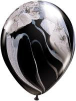"11"" Black White Agate Balloons 5Cts"