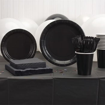 Black Plastic Party Set - 20 guests