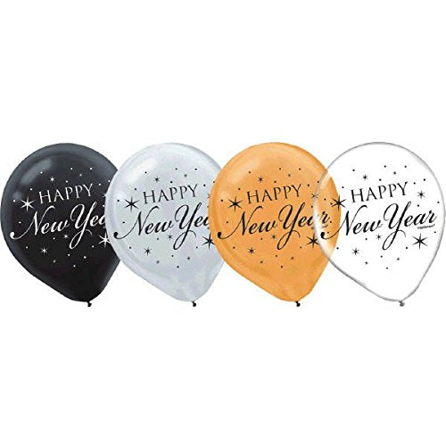 Happy New Year Latex Balloons 15Ct